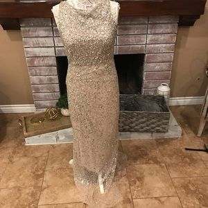Alice + Olivia beaded sequin dress gown size 10